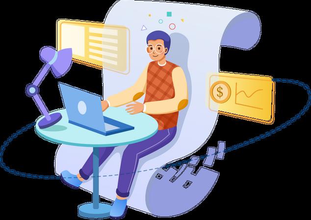 Businessman working on laptop Illustration
