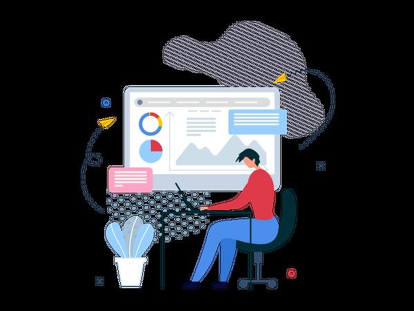 Businessman working on marketing analytics Illustration