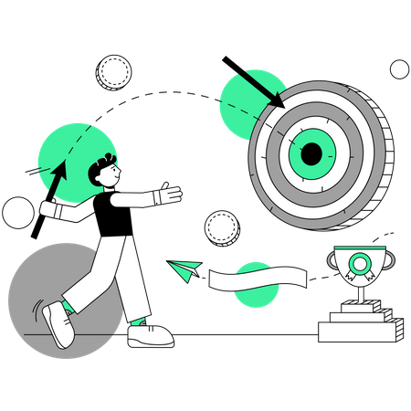 Businessman working on marketing goal Illustration