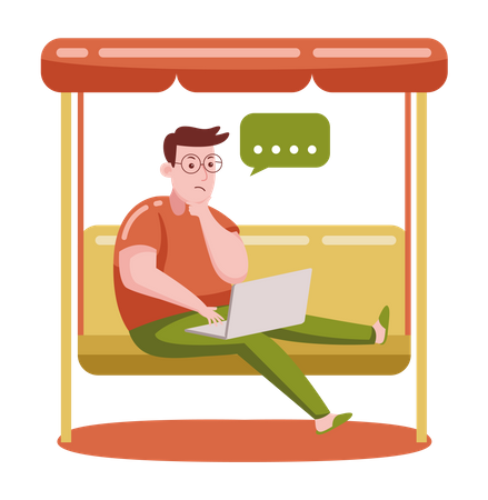 Businessman working on marketing strategy Illustration