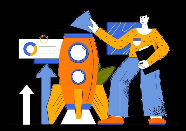Businessman Working On Startup Illustration