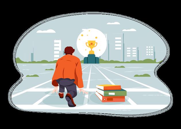 Businessman working towards business goal Illustration