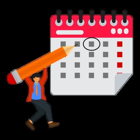 Businessman writes a schedule on a calendar Illustration