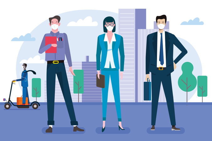 Businessmen and businesswomen in front of their offices wearing protective masks Illustration