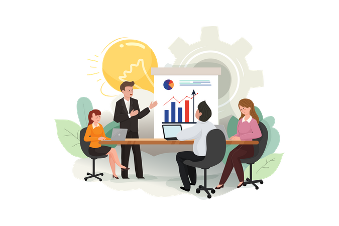 Businessmen and businesswomen meeting brainstorming ideas conducting business presentation Illustration