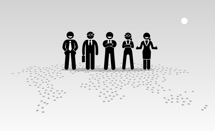 Businessmen and businesswomen standing on top of a world map Illustration