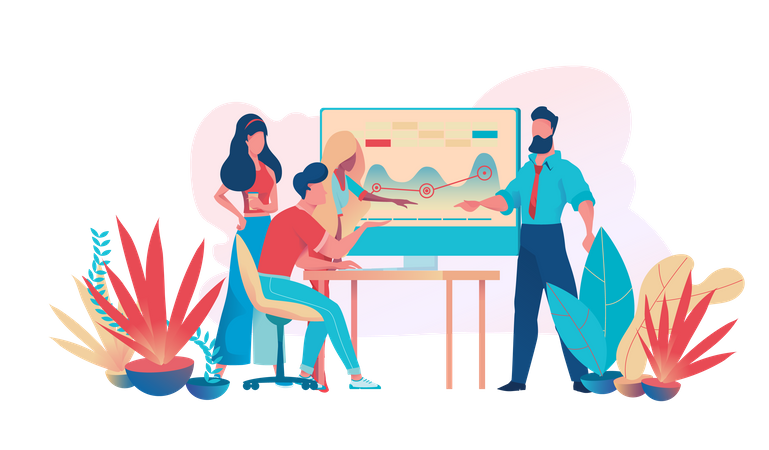 Businessmen are working on a startup project in a team Illustration