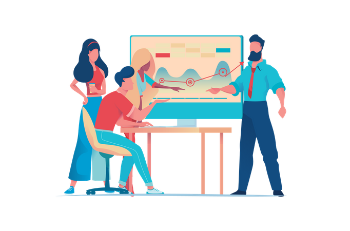 Businessmen are working on startup project in team Illustration