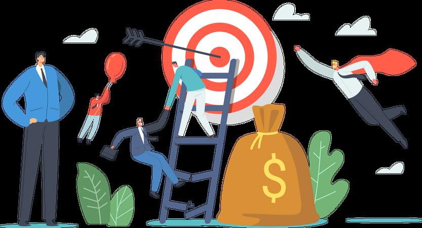 Businessmen Climbing on Ladder to Reach Target Illustration