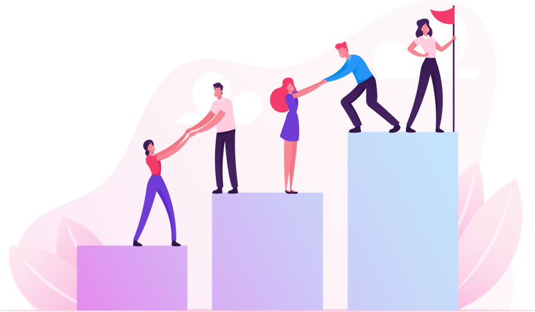 Businessmen Pull Teammates Businesswomen to Peak Teamwork and Leadership Illustration