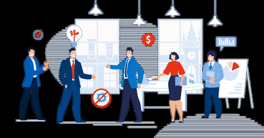 Businesspeople Meeting after Coronavirus Outbreak Illustration