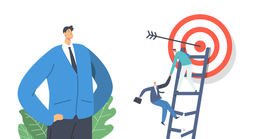 Businesspeople Team Try to Reach Target Illustration