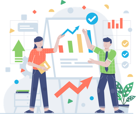 Businesspeople working together Illustration