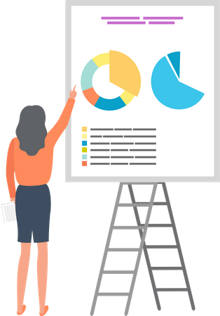 Businesswoman Analyzing Sales and Investments Illustration