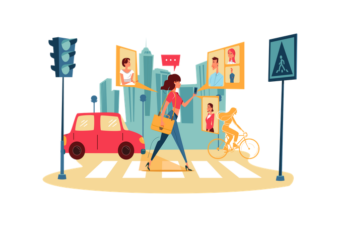 Businesswoman attending online business conference while walking on street Illustration