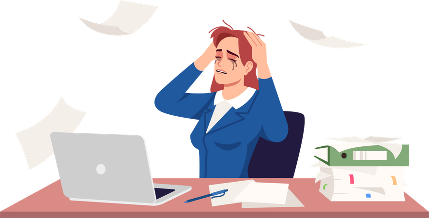 Businesswoman Crying Because Of Workload Illustration