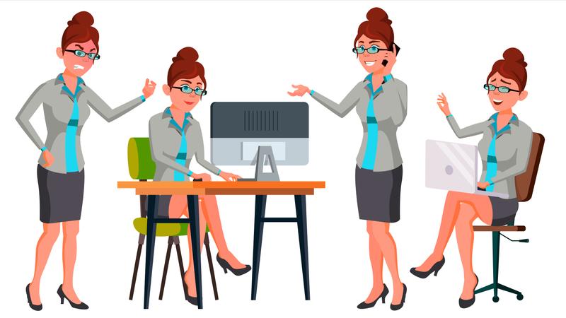 Businesswoman Different Working Gesture Illustration