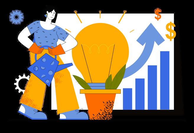 Businesswoman Doing Brainstorming Illustration