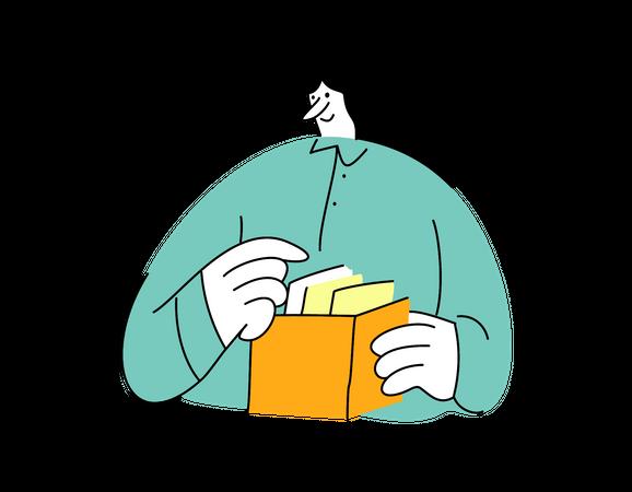Businesswoman finding document Illustration