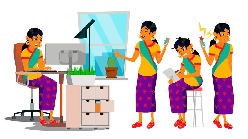 Businesswoman Gestures While Working Illustration