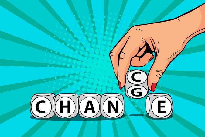 Businesswoman hand change word on blocks to chance Illustration