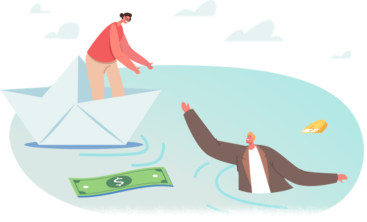 Businesswoman help to businessman to save him from Bankruptcy Illustration