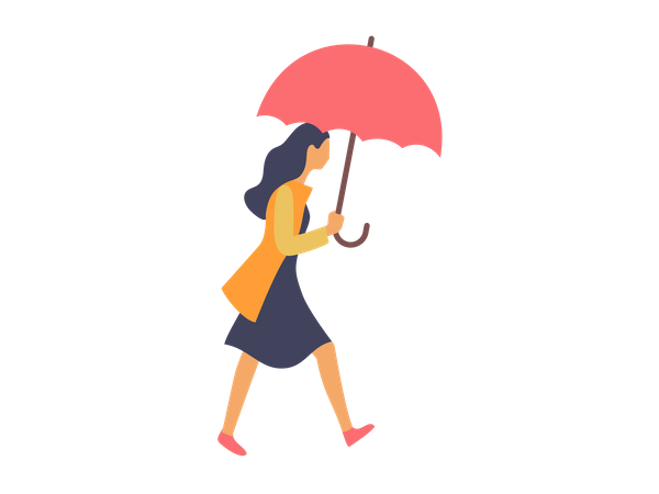 Businesswoman holding umbrella Illustration