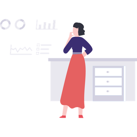 Businesswoman looking at statistical data chart Illustration