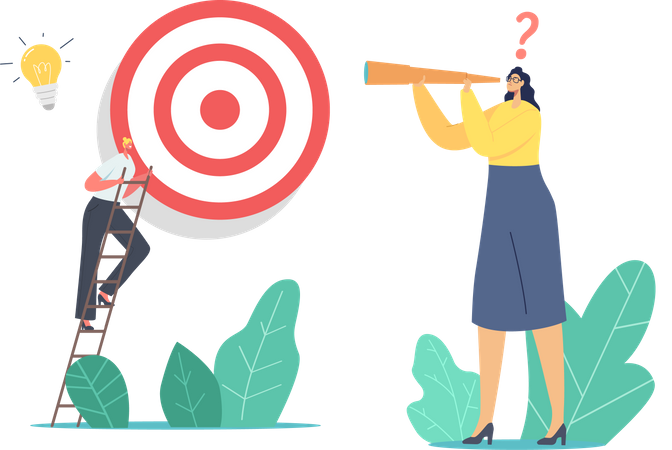 Businesswoman Looking Next Step to Reach Target Illustration