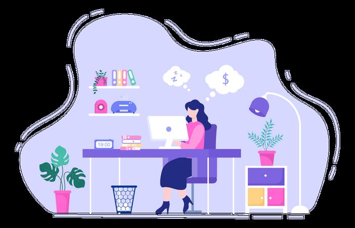 Businesswoman making Budget Planning Illustration