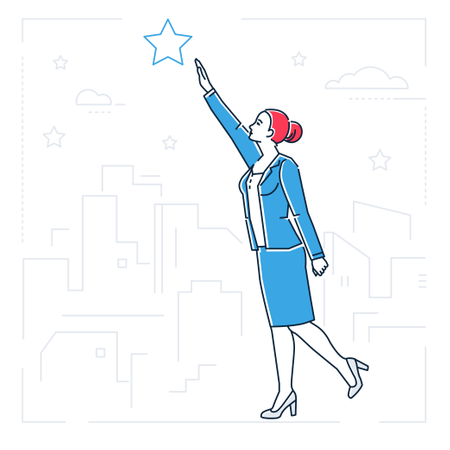 Businesswoman Reaching Out The Star Illustration