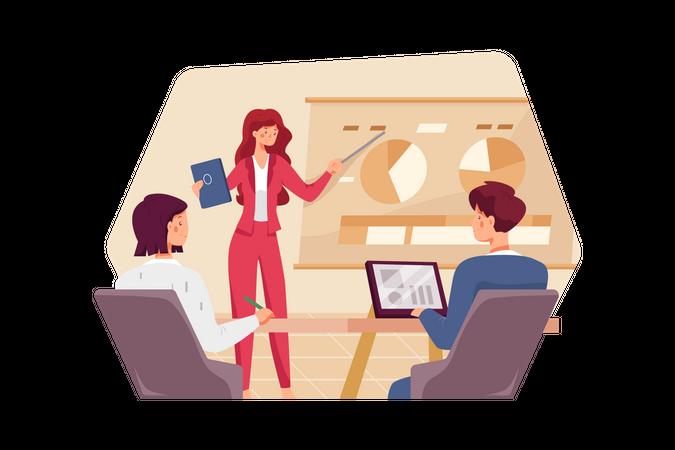 Businesswoman showing a presentation Illustration