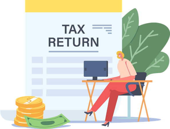 Businesswoman Sitting at Workplace Desk with Computer Taxation Refund Illustration