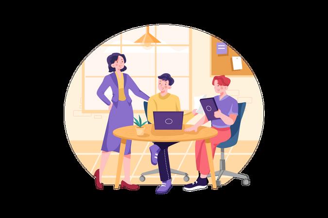 Businesswoman talking to fellow employees Illustration
