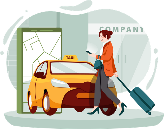 Businesswoman using smart phone for cab booking Illustration