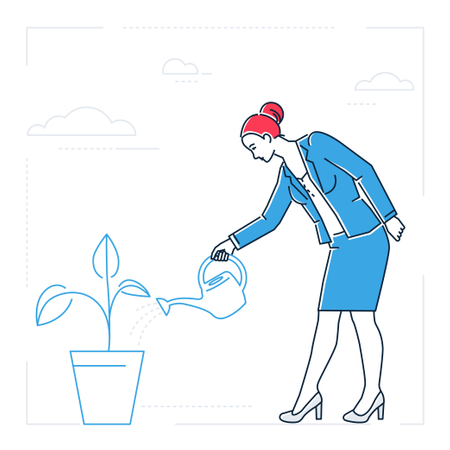 Businesswoman Watering The Plant Illustration