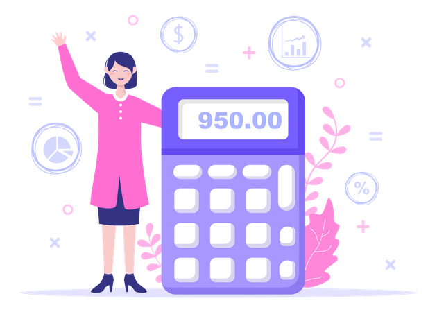 Businesswoman with calculator Illustration