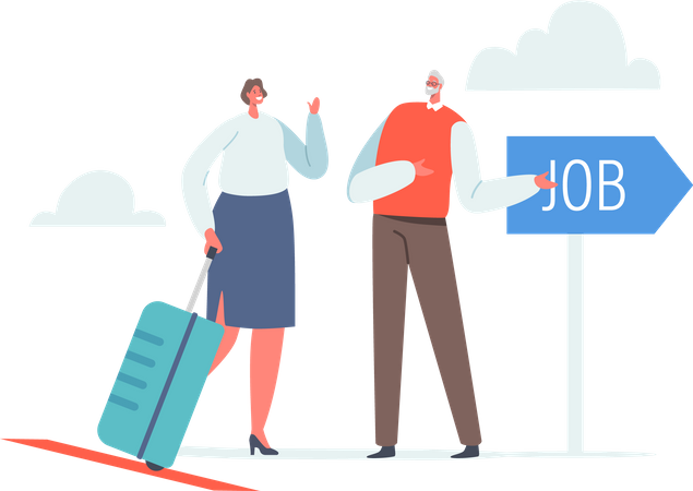 Businesswoman with Suitcase Research Job Opportunity in Foreign Country Illustration