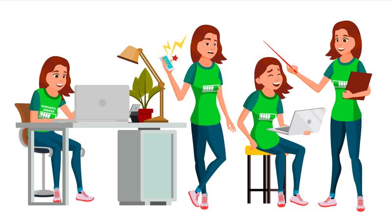 Businesswoman With Working Gesture Illustration