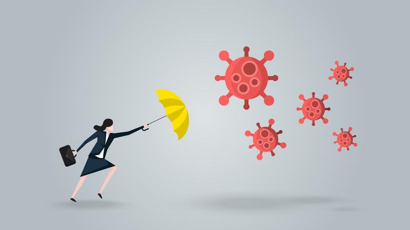 Businesswoman With Yellow Umbrella Defense Covid-19 Illustration