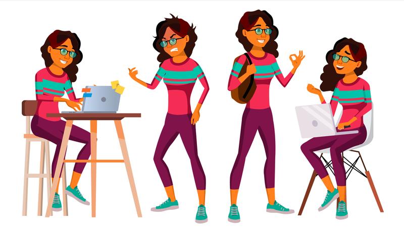Businesswoman Working Gestures Illustration