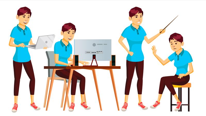 Businesswoman Working In Office Illustration