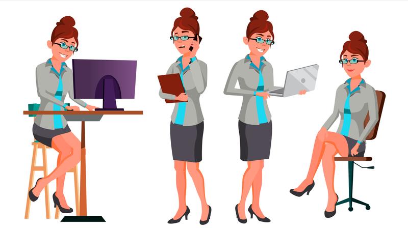 Businesswoman Working In Office On Desk Illustration