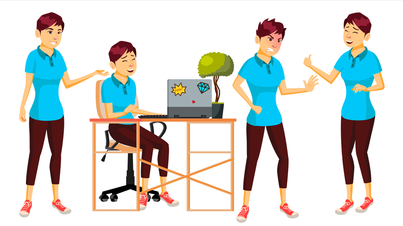 Businesswoman Working In Office With Different Gestures Illustration