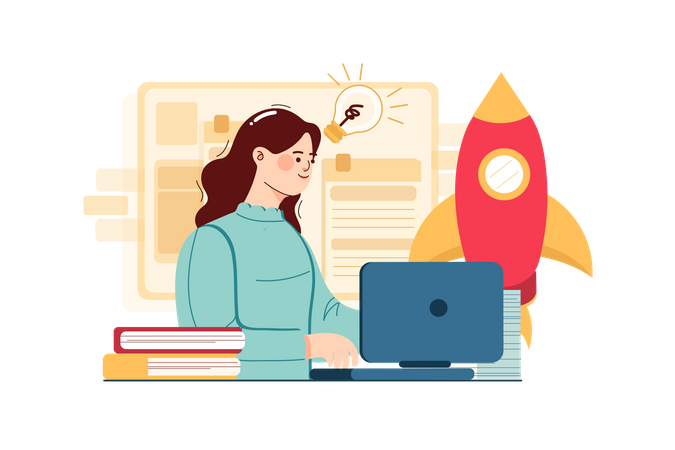 Businesswoman Working On Business Idea Illustration
