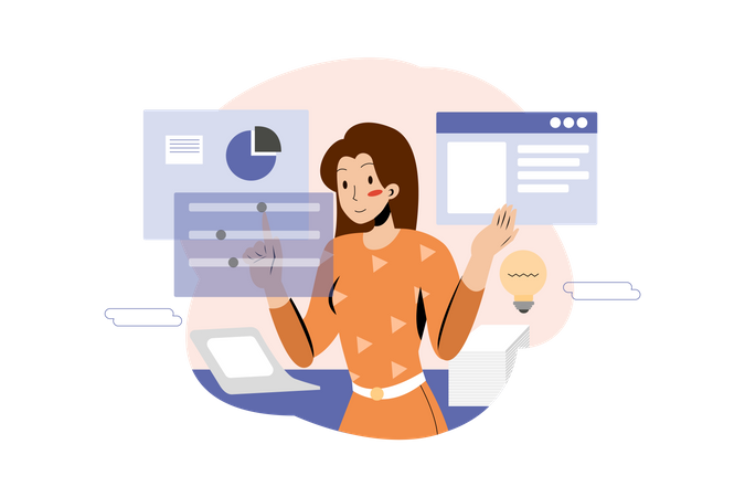 Businesswoman working on business plan in the office Illustration