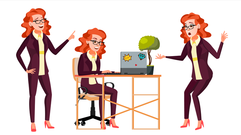 Businesswoman Working On Desk In Office Illustration
