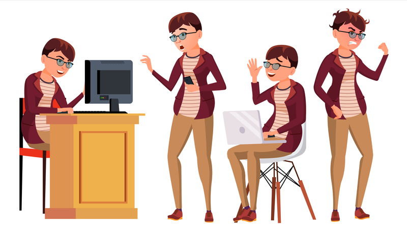 Businesswoman Working On Desk In Office With Different Gesture Illustration