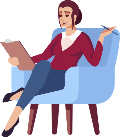 Businesswomen in armchair with clipboard and pen Illustration