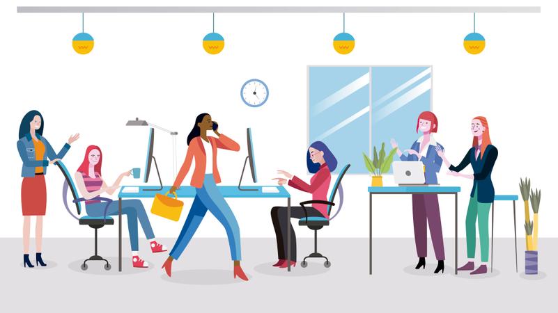 Businesswomen planning new business strategy Illustration